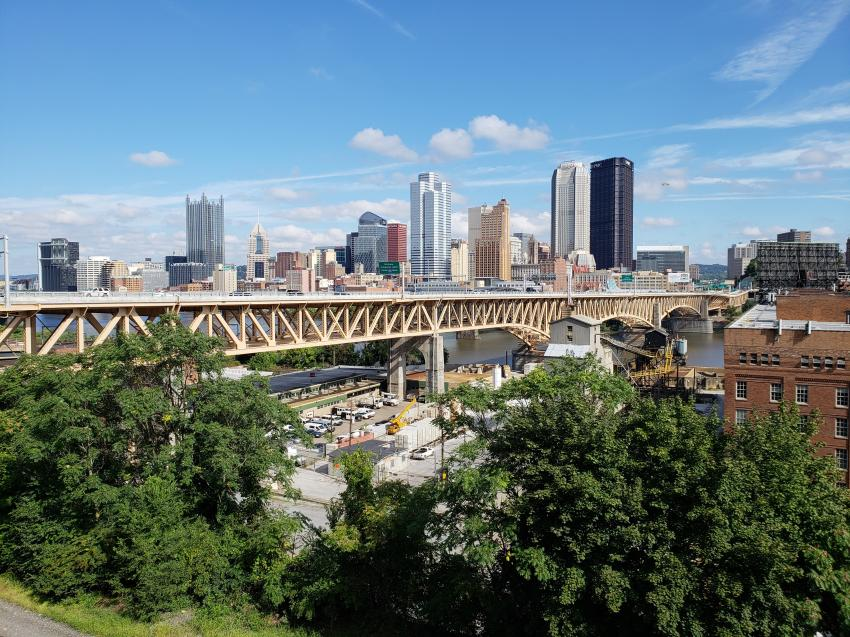 The judges also elected to recognize Pittsburgh's Liberty Bridge with a special award for resilience. This bridge, which was originally built in 1928, demonstrated the superior resilience of structural steel with a remarkable recovery — reopening to traffic just 24 days after an accidental construction fire warped and buckled a main truss compression chord. (Christine Shiring photo)