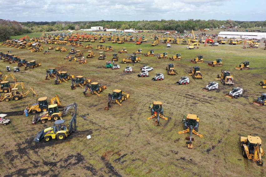 Drone footage shows an aerial view from the Yoder & Frey auction.