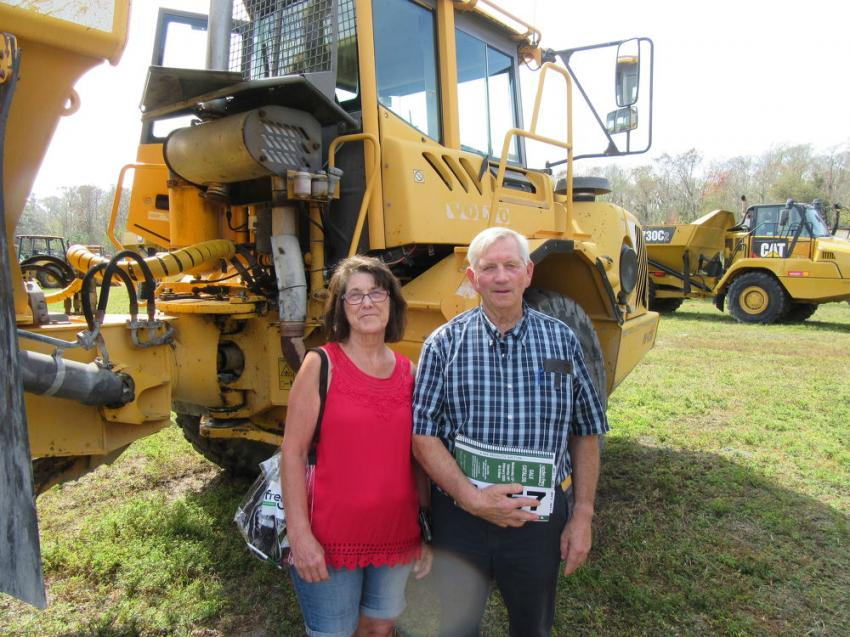 Jo (L) and Arden Shell of Arden Shell Trucking & Excavating, Gladwin, Mich,. were searching for haul trucks at the auction.