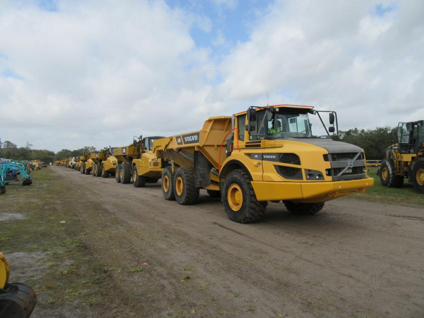 A line of haul trucks cross the auction ramp at the Yoder & Frey auction.