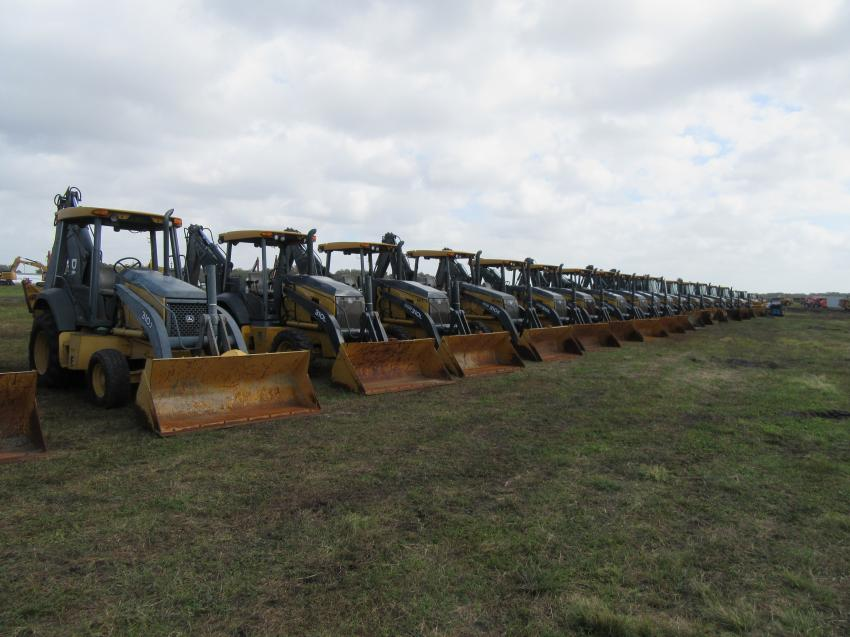 The Yoder & Frey auction included a large selection of backhoes.