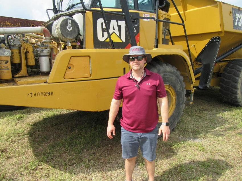 Hank Meinhardt of Brandywine Truck & Equipment, based in Brandywine, Md., was pleased to have placed the winning bid on this Caterpillar 730C articulated haul truck.