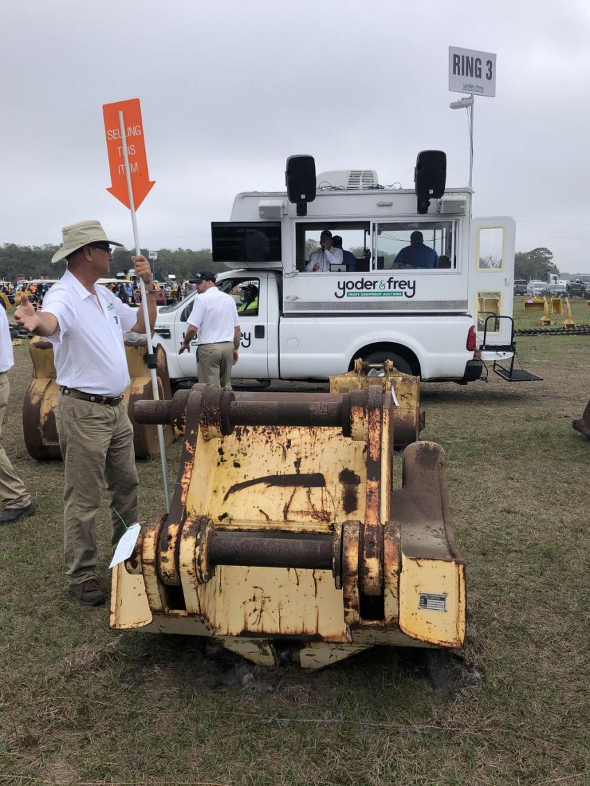Acres of attachments were sold to the highest bidder.