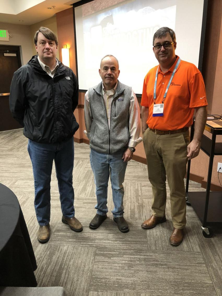 Adam (L) and Jim Hills (R) of Hills Machinery in Charleston, S.C., hosted a breakfast at the conference where Patrick Geraty, president of St. Louis Composting, was the keynote speaker.