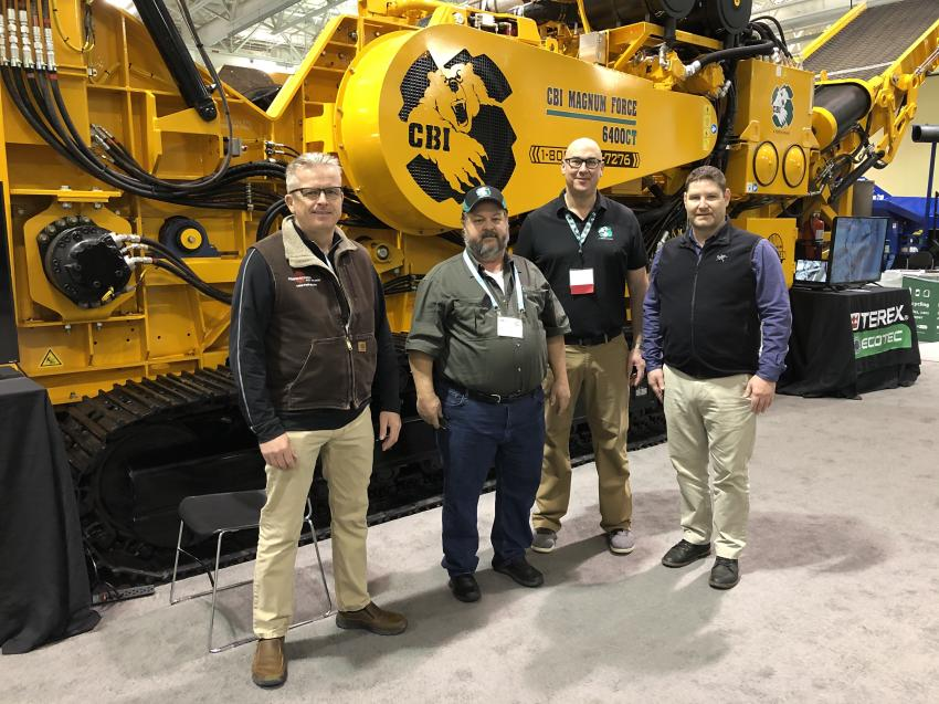 (L-R): Ian Williamson and Steve Simonson, both of Powerscreen Mid Atlantic in Kernersville, N.C., with Travis Lint of Terex CBI and Jeff Ford, also of Powerscreen Mid Atlantic.
