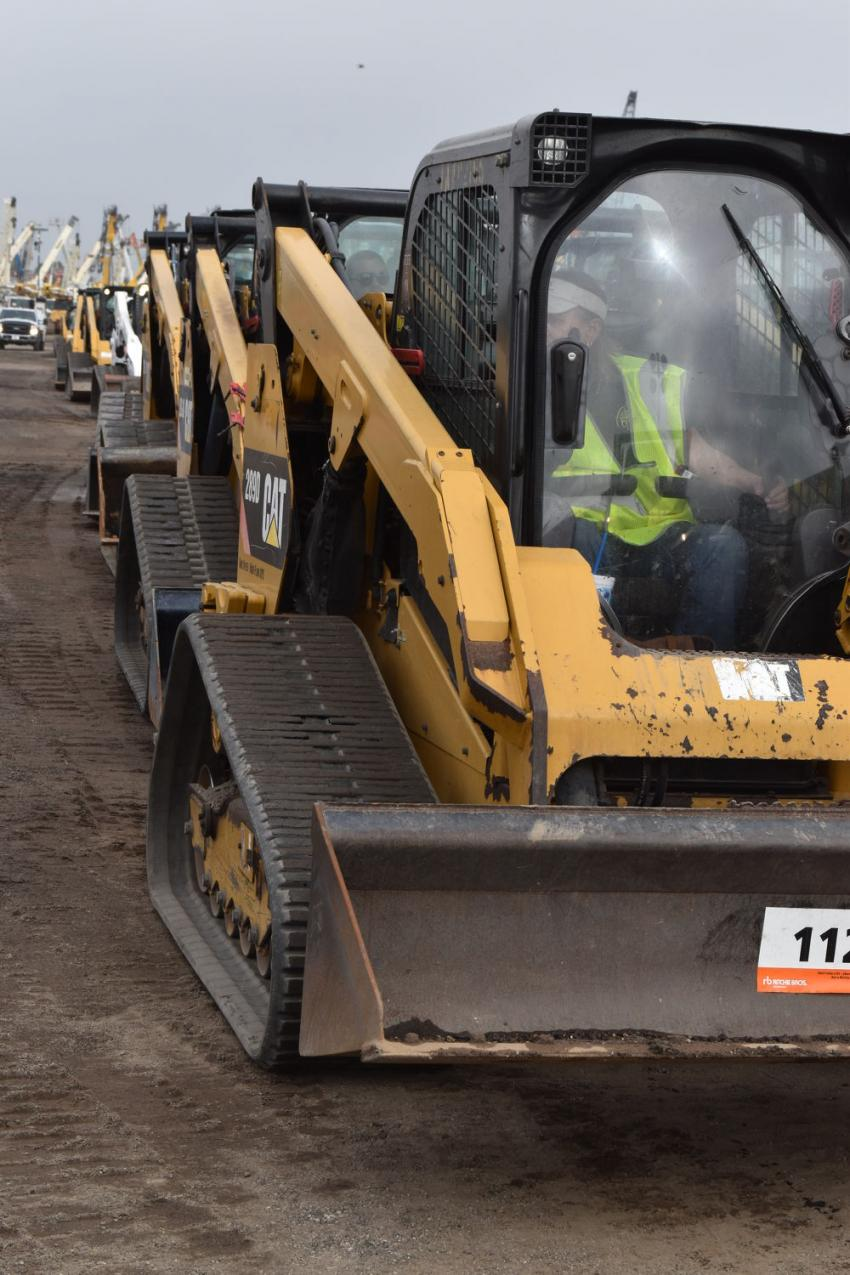 Approximately 300 skid steers are lined up and ready to roll over the ramp. Before the sale even started, bidders from more than 100 counties had registered to get their opportunity to buy from this inventory.