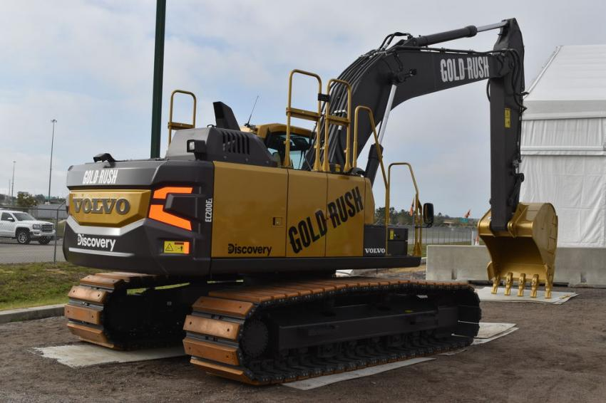 To celebrate the 10th season of Gold Rush on Discovery Channel and its new EC200E crawler excavator, Volvo donated a special gold-painted EC200E to be sold at this year's sale with all proceeds donated to Habitat for Humanity and Building Homes for Heroes.