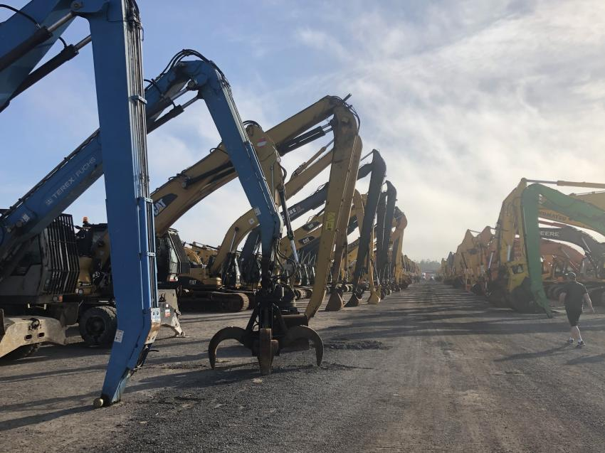 Approximately 600 excavators of every size and shape imaginable were available to the highest bidder.