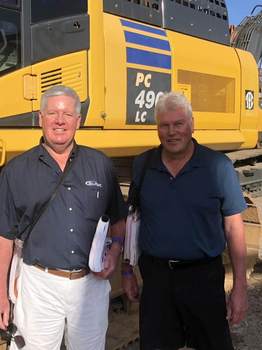 One of the larger excavators at the sale was this Komatsu PC 490 LC, which was getting inspected by a couple of experienced professionals, Joe Boyle (L) and Bill Miller of Bill Miller Equipment Sales, with locations in Eckhart, Md., and Carlin, Nev.