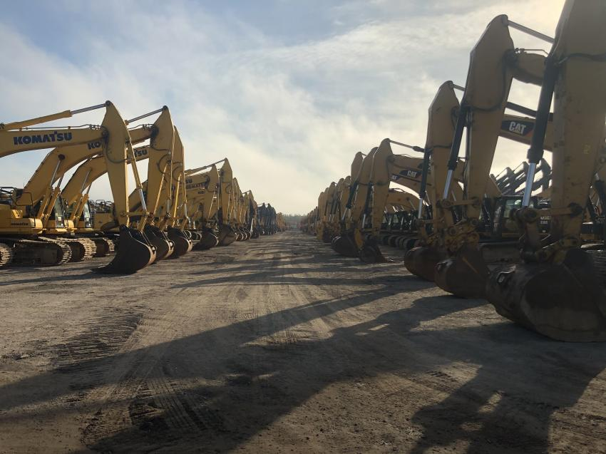 More than 500 hydraulic excavators rolled over the auction ramp during Ritchie Bros.' Florida auctions.