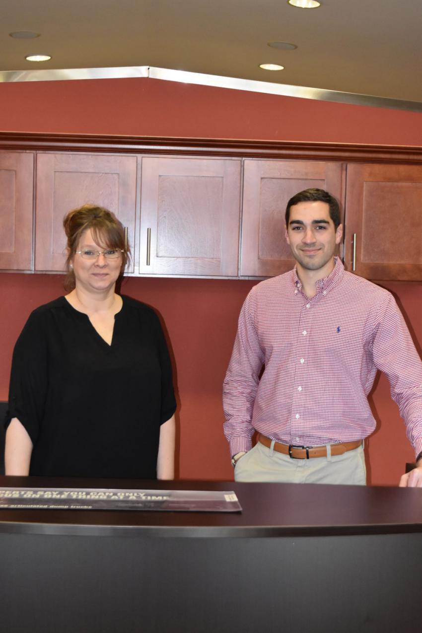 April Hall, office manager, and Zachary Manz, president and CEO, are looking forward to welcoming you at the grand opening on April 2.