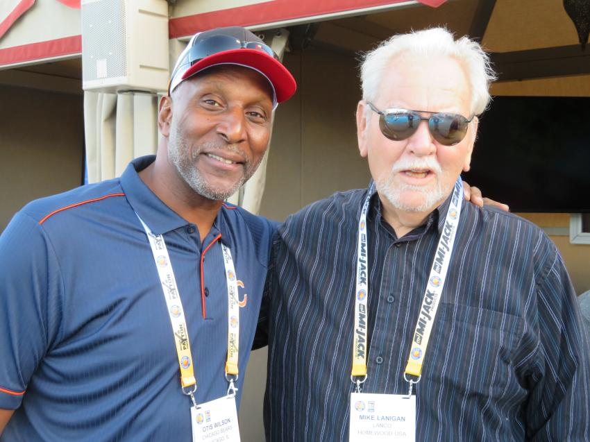 Pro Bowler Otis Wilson (L) of the 1985 Chicago Bears Super Bowl Championship team and Mike Lanigan, president of the Lanco Group of Companies.