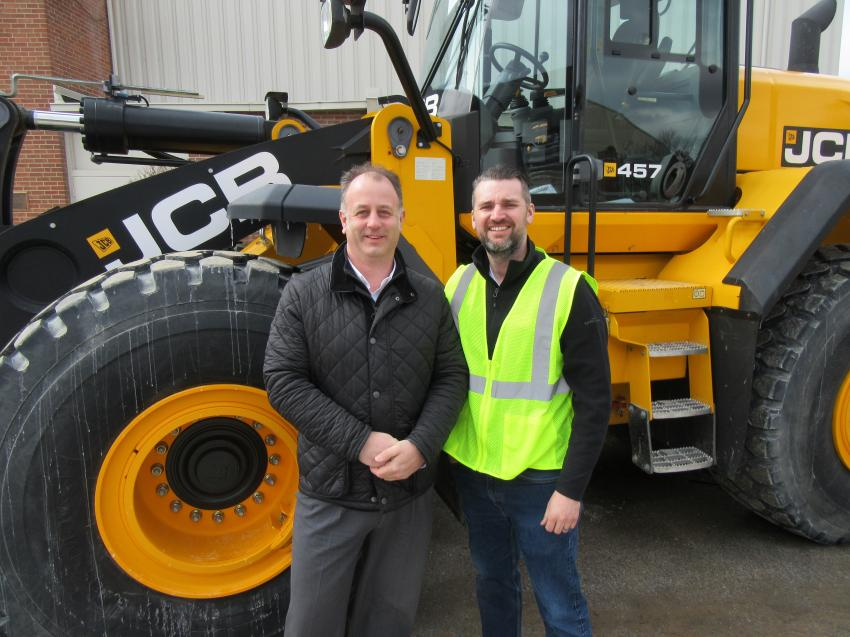 Jim Blower (L), JCB North America regional business manager, joined Jason Templeton, Company Wrench vice president, to ensure that everything ran smoothly at the Company Wrench JCB Demo Day event.