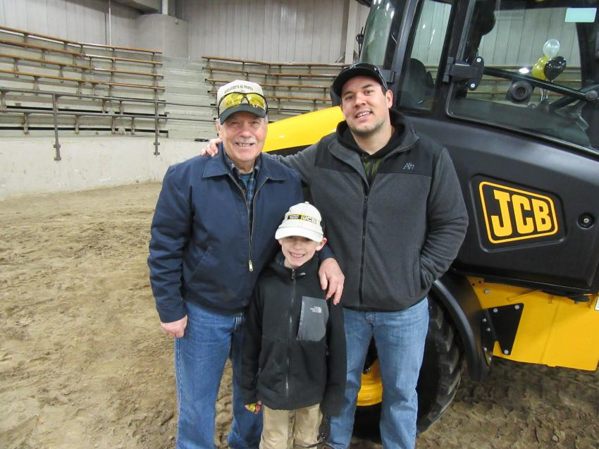 (L-R): Bill Newell, along with great grandson, Reece, were on hand to encourage Bill's grandson, Cain, as he competed in the timed skill challenge event.