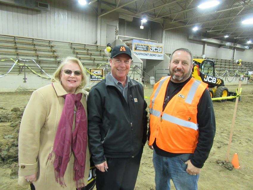 (L-R): Marybeth and Scott Hughes of Atlas Industrial Contractors spoke with John McKibbon, Company Wrench JCB territory sales manager.