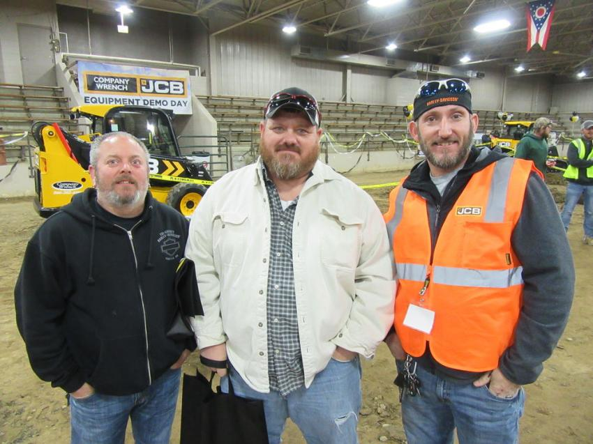 (L-R): Mike Cash and Steve Jordon of the Ohio Department of Transportation (ODOT) discuss equipment with Company Wrench JCB Territory Sales Manager and Steve's brother, JJ Jordon.