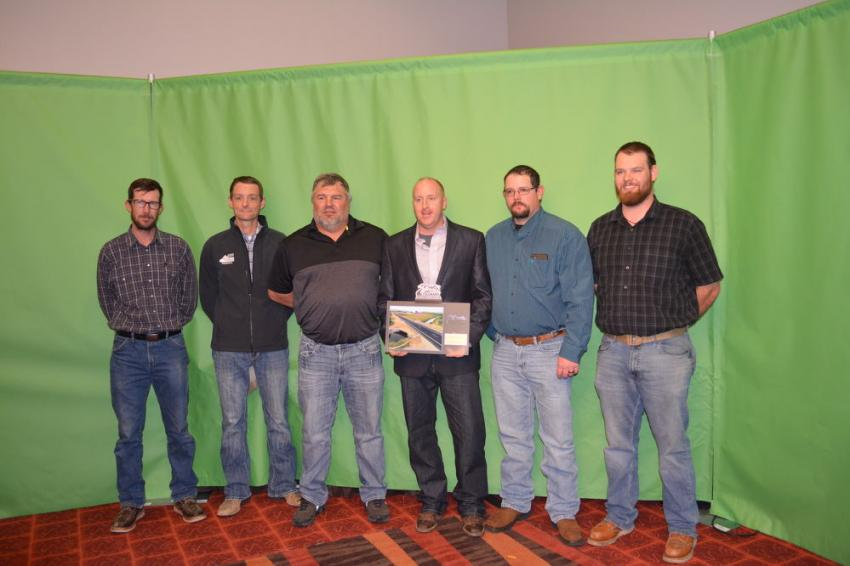 Martin Marietta won several awards including for Urban Highway New or Reconstruction.  Pictured accepting the award are (L-R) Mark Vorhees and Jason Fagette along with Kenny Grass, Jimmy Jones, Levi West and Kyle Neith of Martin Marietta.