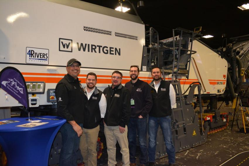 4Rivers Equipment represents the Wirtgen line of products in Colorado, outside of Denver. The company's contingent at RMACES included (L-R) Carlos Koons, Brad Middleton, Jeff Bandy, Mike Sydow, and David Middleton. They are show with a Wirtgen 210i milling machine.