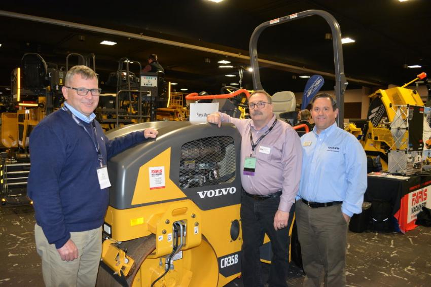 The Volvo line of compaction equipment was represented at the show by Faris Machinery of Commerce City, Colo. Pictured with the Volvo CR34B combination asphalt compactor are (L-R) Bill Laing of Volvo along with Bill Smith and Jeff Keller of Faris.