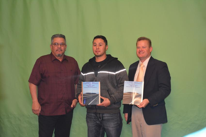 (L-R): Jeff Bran and Tommy Campbell of Four Corners and Tim Webb of CDOT. The award for Smoothest Pavement (Category ll) went to Four Corners Materials of Durango for the Highway 160 project in Montezuma County.