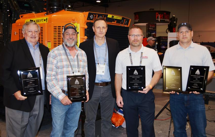 Dealer awards for sales of FAE products were presented to (L-R): Roy Zenor, Texas Timberjack; Sam Zimmerer, Zimmerer Kubota & Equipment; Giorgio Carera, CEO, FAE USA; Jeff Brown, Global Machinery; and Kelly Weikel, GT Mid Atlantic, receiving awards for Groff Tractor and parent company GT Mid Atlantic.