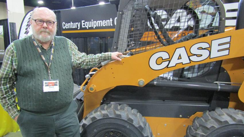 Long-time employee David Foulger of Century Equipment Company showcases the Case SR210 skid steer Tier IV-final.