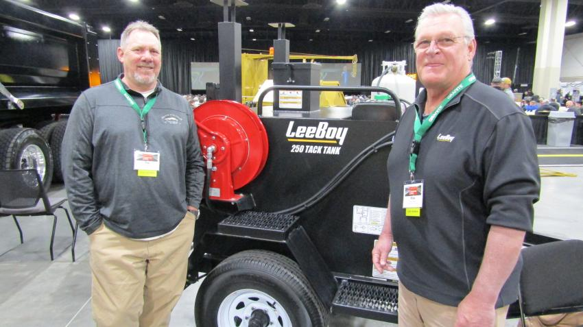 Tim Badberg of Cate Equipment Company (L) and Rick Smith of Cate Equipment Company representing the LeeBoy 250 tack tank. The 250 gallon tack distributor provides a perfectly sized tank for small to large projects including parking lots, patching, driveways or soil stabilization.
