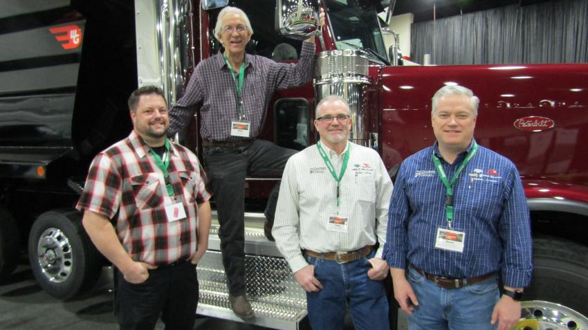 (L-R): Colby Lavender of Peterbilt, Mike Ortiz of Peterbilt, Tony Lowder of Williamsen-Godwin and Kevin Sorensen of WilliamsenGodwin with the Peterbilt 389, the embodiment of the Peterbilt legacy.