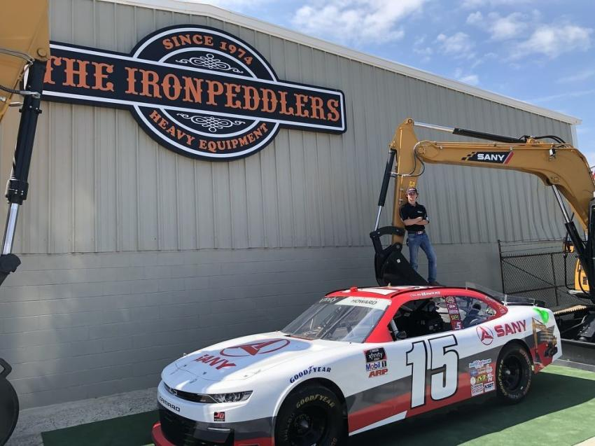 Colby Howard, the driver of the #15 car, is sponsored by Ironpeddlers and SANY.