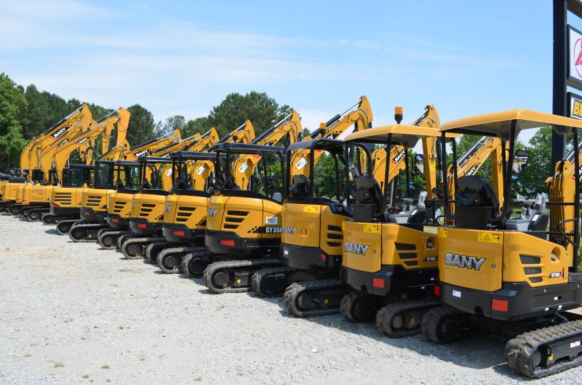 A huge selection of SANY excavators is in stock at the new facility and ready for delivery.