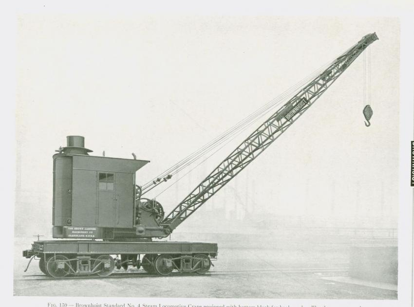 The Brown Hoisting Co. of Cleveland, Ohio, offered this very typical steam-powered locomotive crane at the turn of the last century.