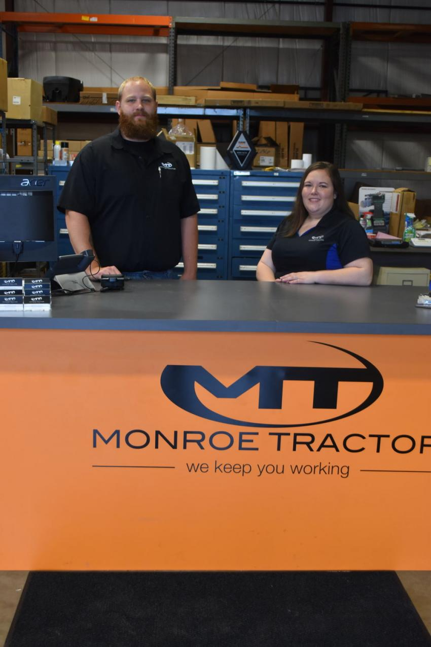 Michael Uricchio, parts technician, and Nichole Nielsen, parts manager, are proud to stand behind the $6 million investment Monroe Tractor has made in Case parts inventory for the state of Connecticut.