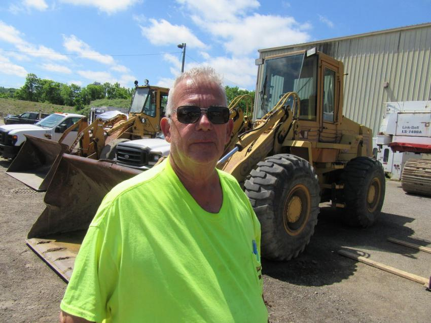 Bob Tinl of Valley City Excavating hoped to land the winning bid on a wheel loader at the auction.