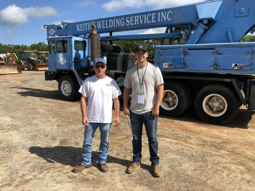 Greg Quinn (L) of RJ Shirley in Greenville, S.C., and Kyle Shirley of Keith's Welding Service in Travelers Rest, S.C., came to the auction to sell their 1973 Pettibone 17.5-ton truck crane.