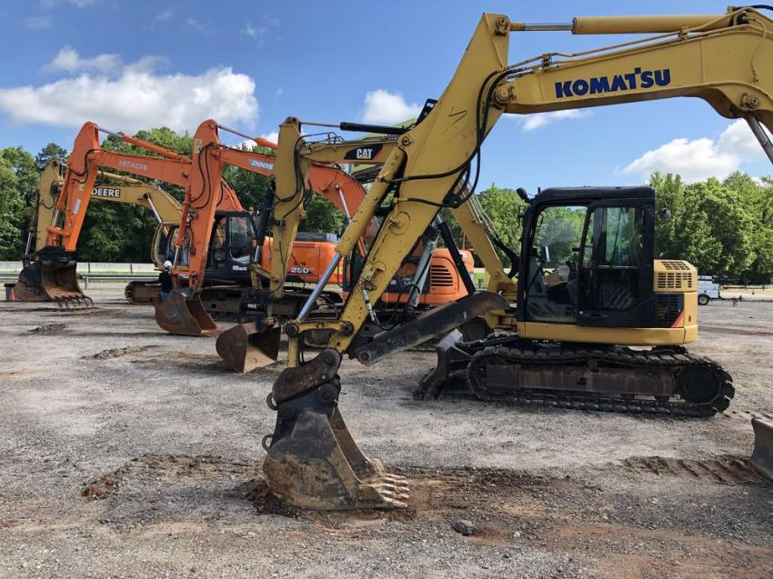 John Deere, Hitachi, Doosan, Cat and Komatsu excavators were sold.