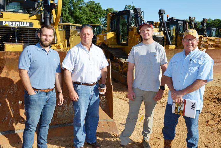 Fathers and sons out discussing the machine line up included (L-R) Will and Bill Woods of Woods Equipment, Nashville, Tenn. and Joe and Carl Shane of Shane Trucking & Excavating, Nashville, Tenn.