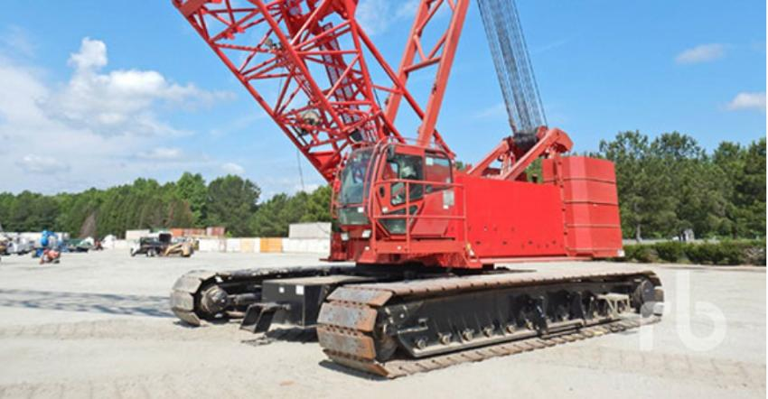 June's top big ticket seller was this 2008 Manitowoc 14000 Series 2 200-ton self-erecting crawler crane (lot #1076) that sold at the Atlanta, Ga., auction for $480,000.