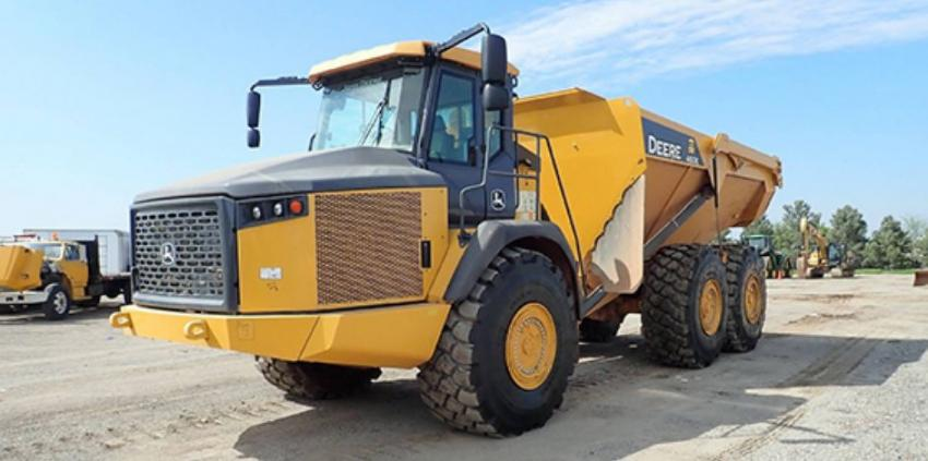 At Ritchie Bros.' Fort Worth, Texas, auction in June, this 2017 John Deere 460E 6x6 articulated dump truck (lot #198) sold for $410,000.
