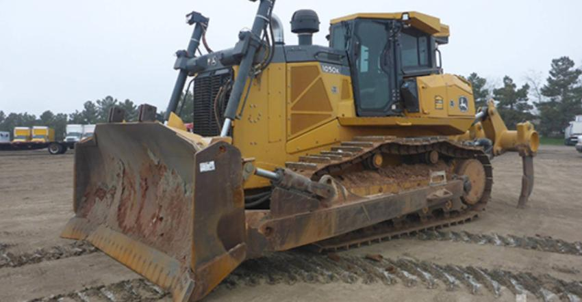 This 2015 John Deere 1050K dozer (lot #228) sold in Fort Worth for $355,000.