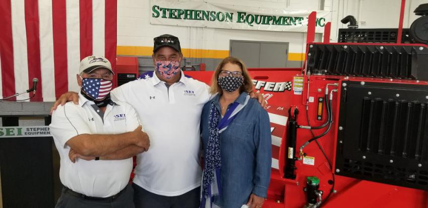(L-R) are Ronnie Hoffman, Stephenson Equipment's asphalt equipment service manager,  and Joe and Linda Hoffer of Hoffer Paving. Hoffman is a LeeBoy specialist and longtime employee of SEI who worked with the Hoffers when they purchased their first LeeBoy paver in 2002.