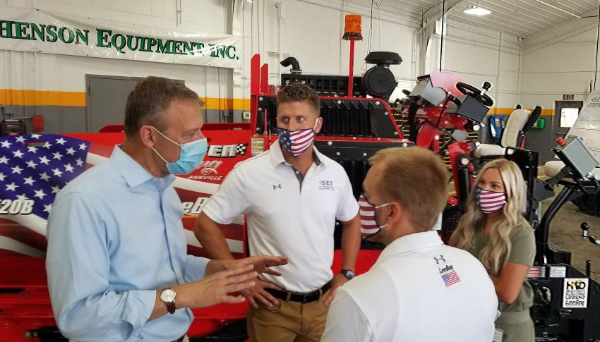 (L-R): U.S. Congressman and retired Army National Guard Brigadier General Scott Perry discusses the strength and importance of family run construction businesses like Hoffer Paving with SEI employees Scott Schatz and Kyle Hoffman and Schatz's wife, healthcare professional Alyssa Schatz.
