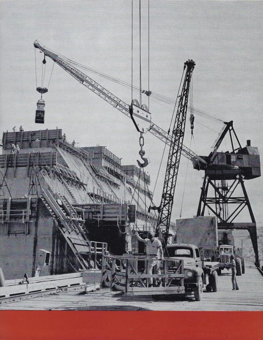 The most prominent crane is an American Hoist & Derrick whirley working on the Whitney Dam on the Brazos River in Texas, circa 1950. (AH&D Catalog 400-R-2 — HCEA photo)