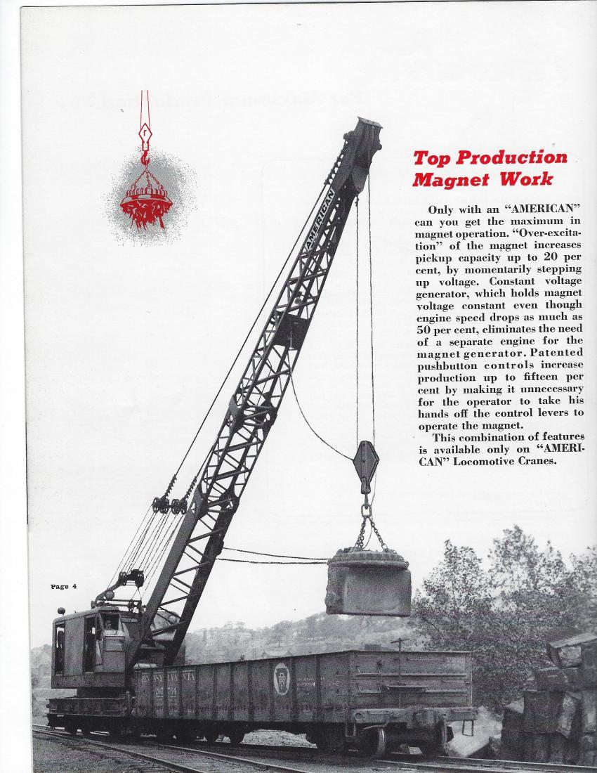 American Hoist & Derrick locomotive crane with magnet — 1950 (AH&D Catalog 600-L-5 — HCEA photo)