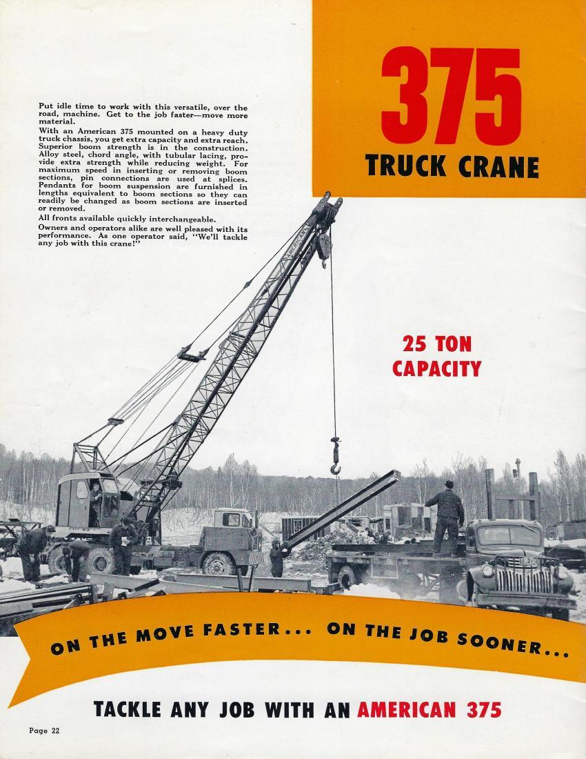 American Hoist & Derrick 375  25-ton truck crane — 1953 (AH&D Catalog 700-G-22A — HCEA photo)