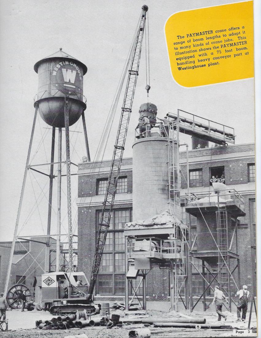 Lima 34 Paymaster crawler crane with 75-ft. boom — 1955 (Lima Bulletin No. 034-G  — HCEA photo)