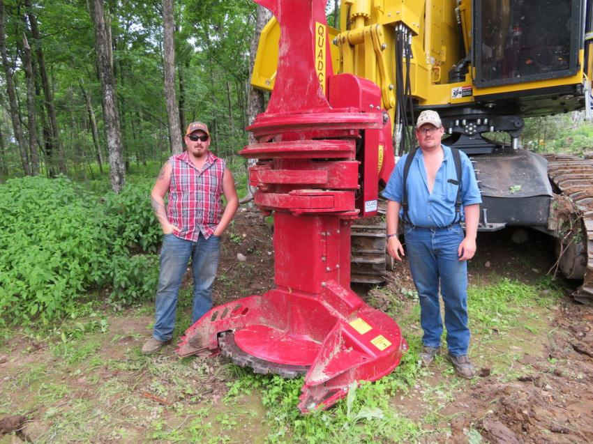 Jake Durben (L) of Born Logging and Justin Schleis of JS Logging were impressed with the QUADCO continuous saw.