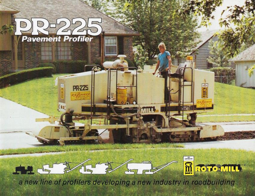 A CMI PR225 Roto-Mill pavement profiler in 1977.