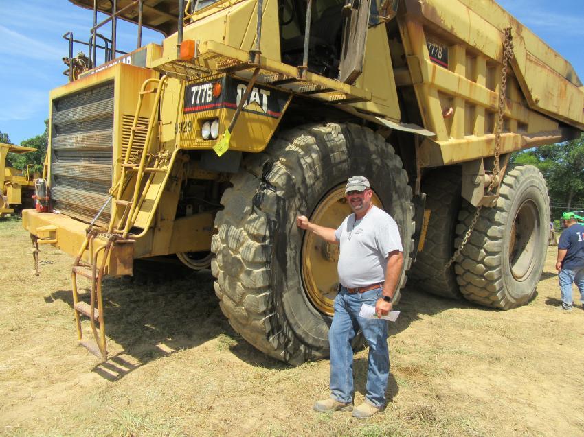 Kendrick Excavating Inc.'s Rob Kendrick admired this Caterpillar 777 100-ton haul truck.