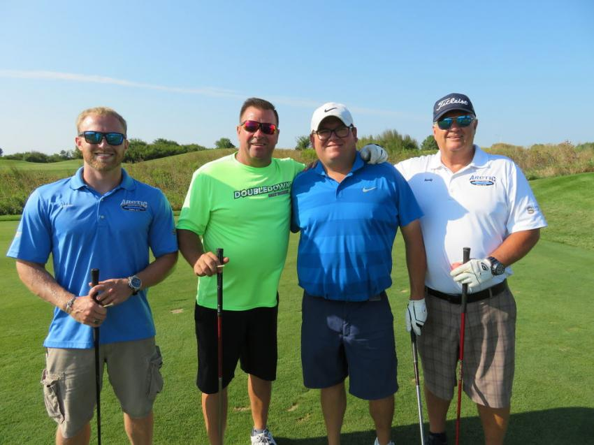 (L-R): Frankfort, Ill.'s Arctic Snow and Ice Products team of Lucas Strait, John Starek, Joe Jaworski and Randy Strait, president and CEO, enjoyed the day at Alta Equipment's First Annual Golf Outing, of which Arctic was a sponsor.