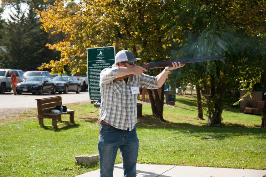 Bennie Berg of Lunda Construction Company aims high at The AGC of Minnesota Foundation 2020 Sporting Clays Fundraiser on Sept. 16.